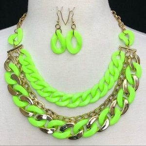 Neon Green 3 Row Chunky Chain Necklace Earring Set